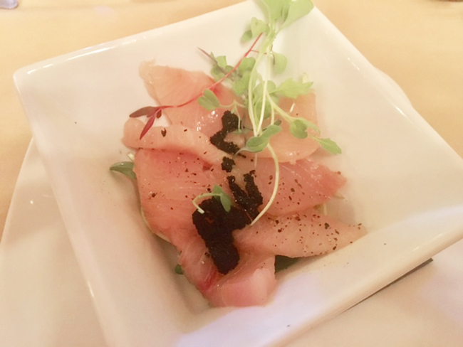 The Hamachi Crudo at Homespun Kitchen and Bar