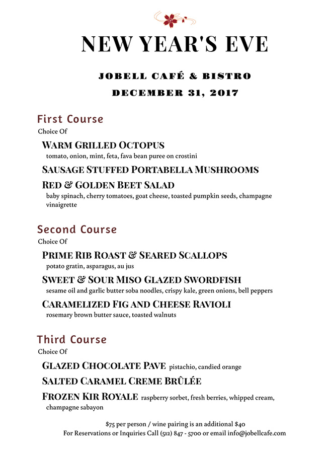 Jobell Cafe Austin Tx New Years Eve Menu