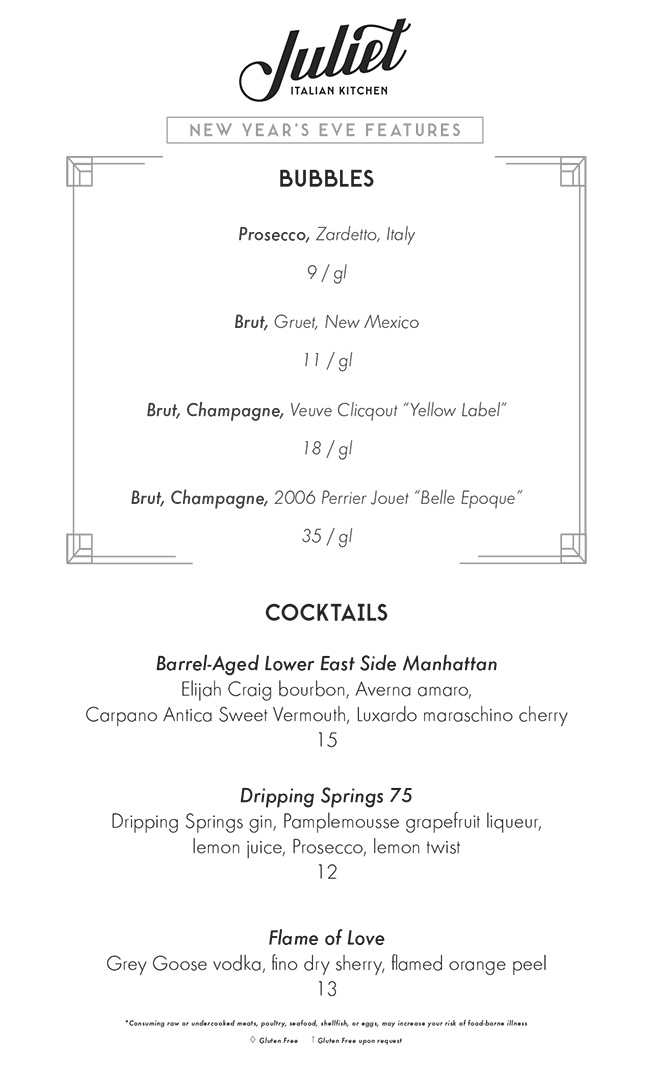 Juliet Austin TX New Years Eve Menu 2