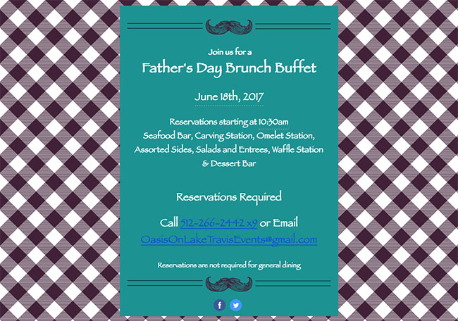 Father's Day brunch menu at The Oasis restaurant Austin, Texas